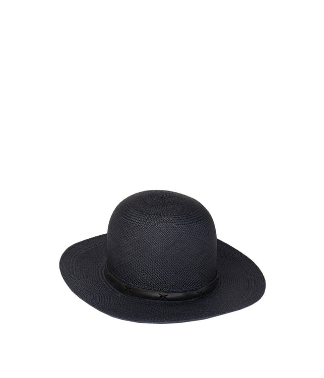 Navy Toquilla Straw Hat