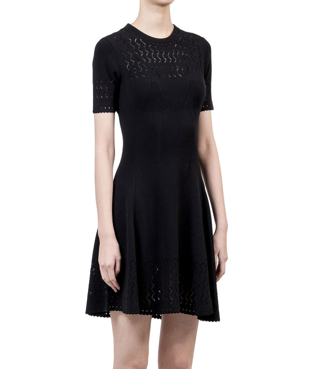 Black Knitted Lace Dress