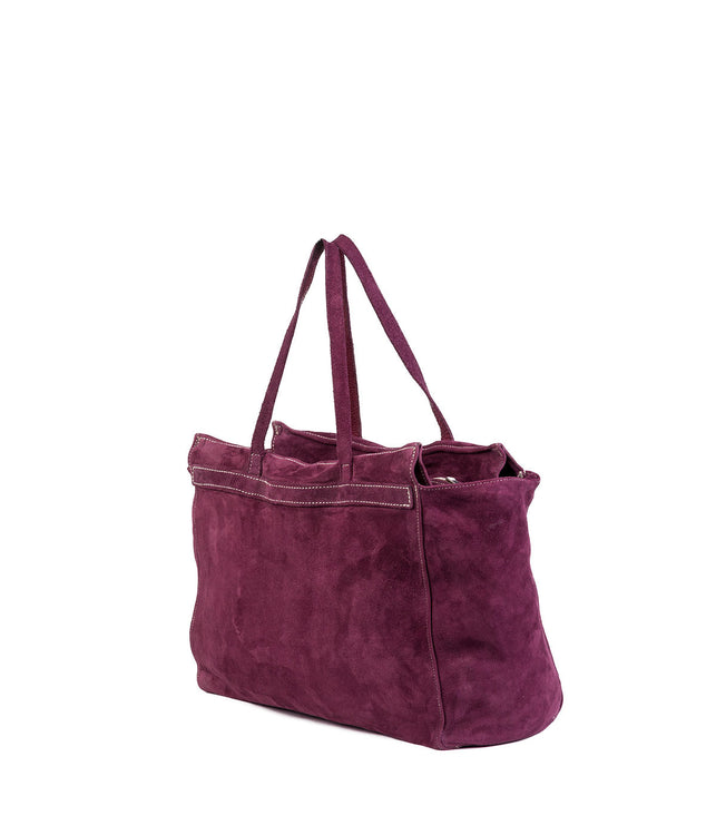 Purple Reverse Leather Shoulder Bag