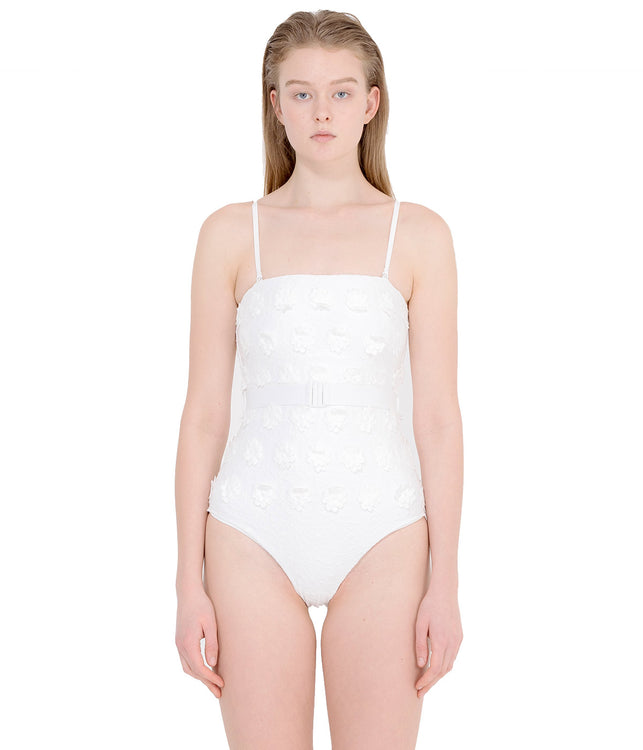 White Daisy One Piece Swimsuit