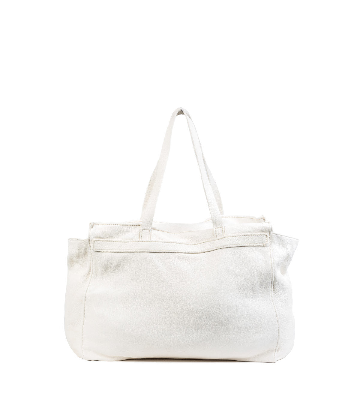 White Full Grain Shoulder Bag