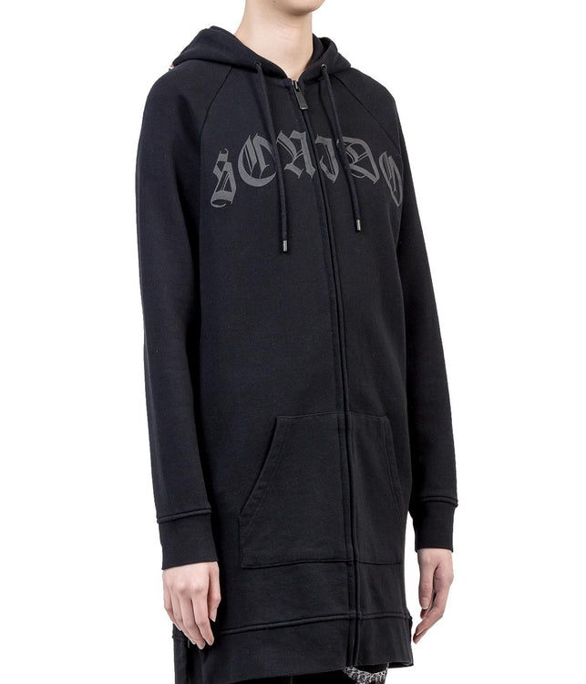 Black Overlong Zip-Up Hoodie