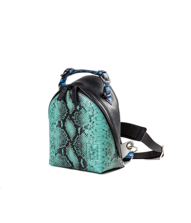 Mini Faux Snakeskin Backpack