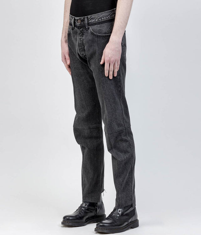 Black Reworked Denim Jeans
