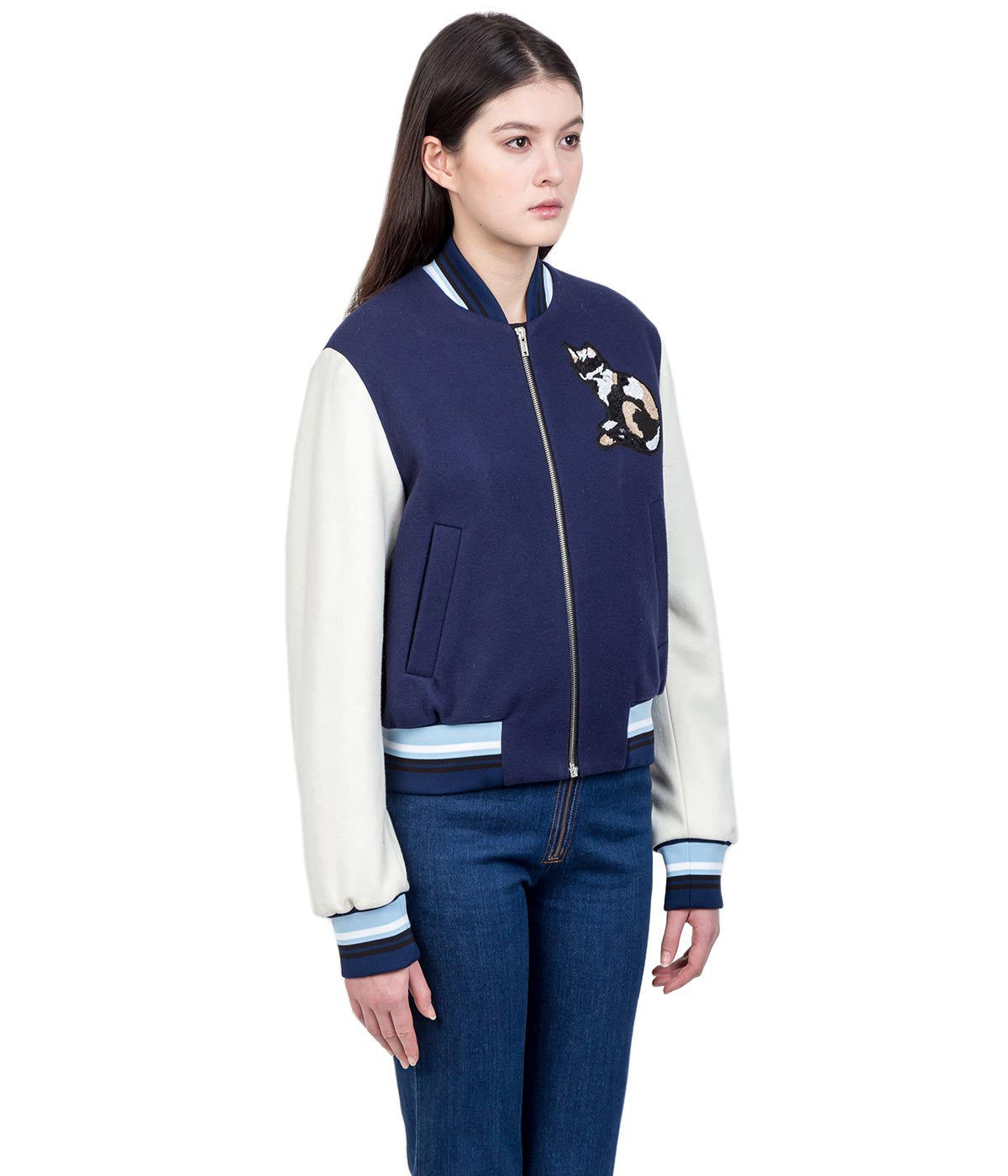 Navy Cat Appliqué Bomber Jacket
