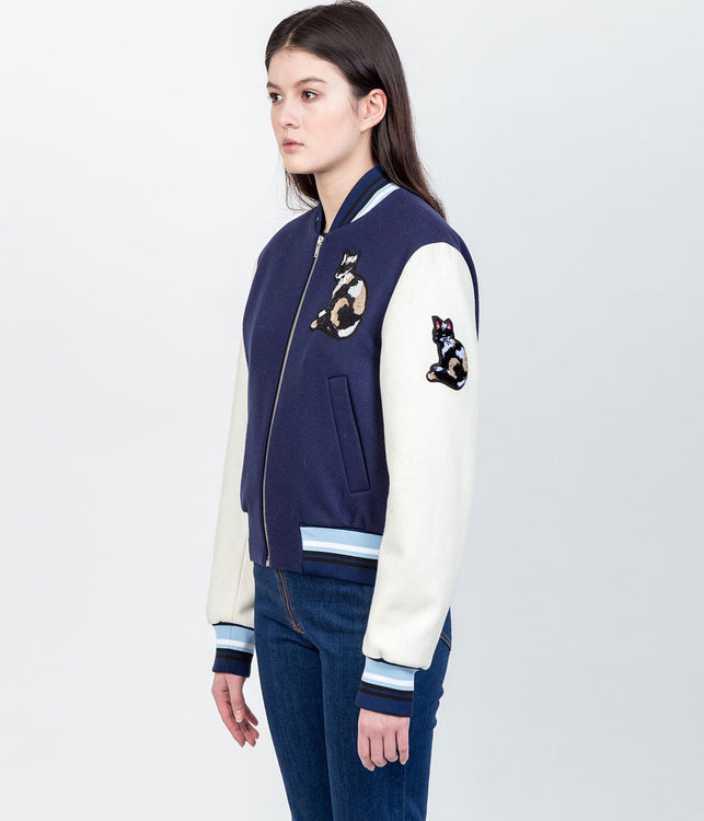 Navy Cat Appliqué Bomber Jacket (Sold out)