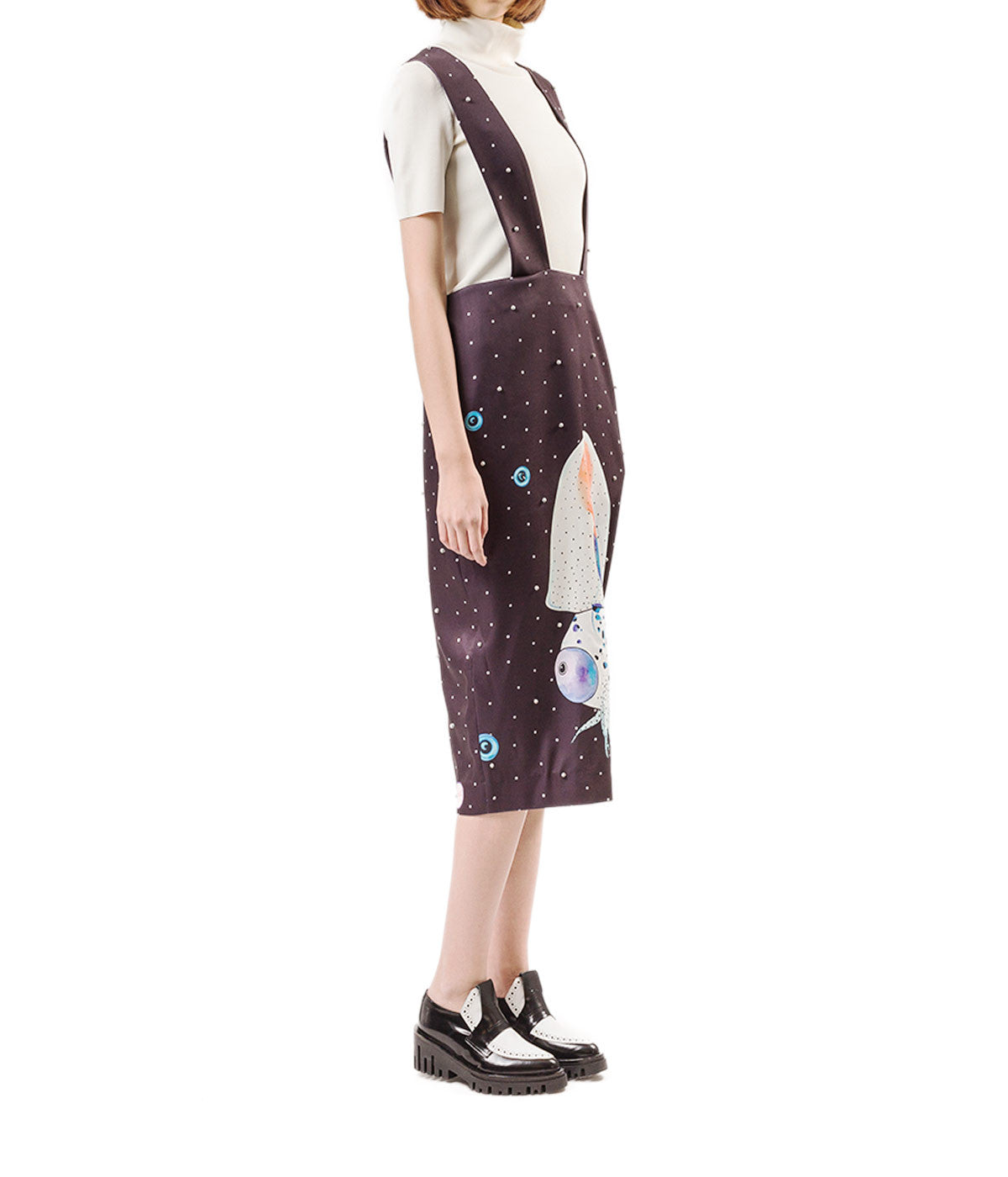 Galaxy Squid Print Skirt With Suspenders