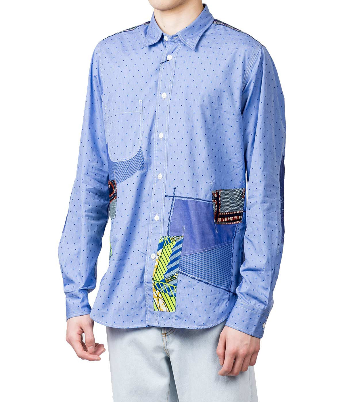 Patchwork Button-Up Shirt