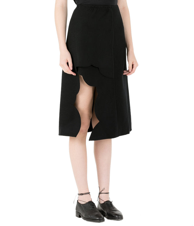 Black Petal Cut Skirt