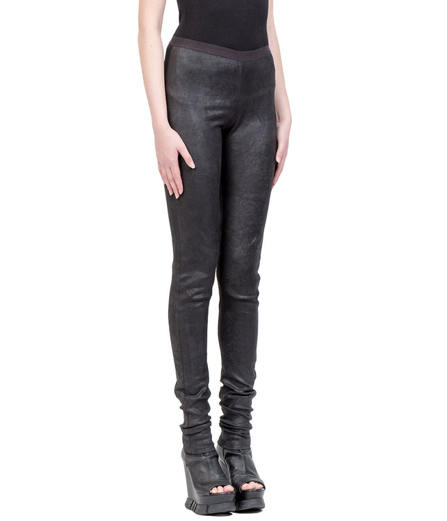 Black Stretch Leather Leggings