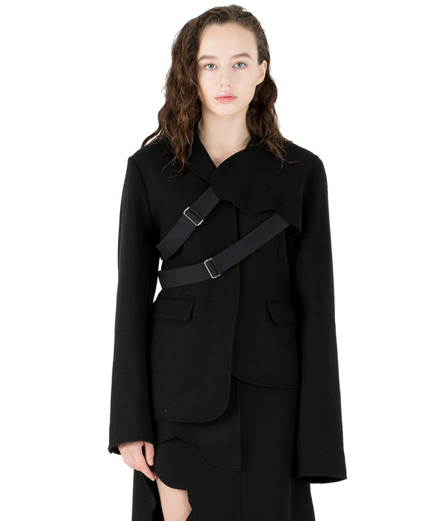 Black Detachable Sleeve Jacket