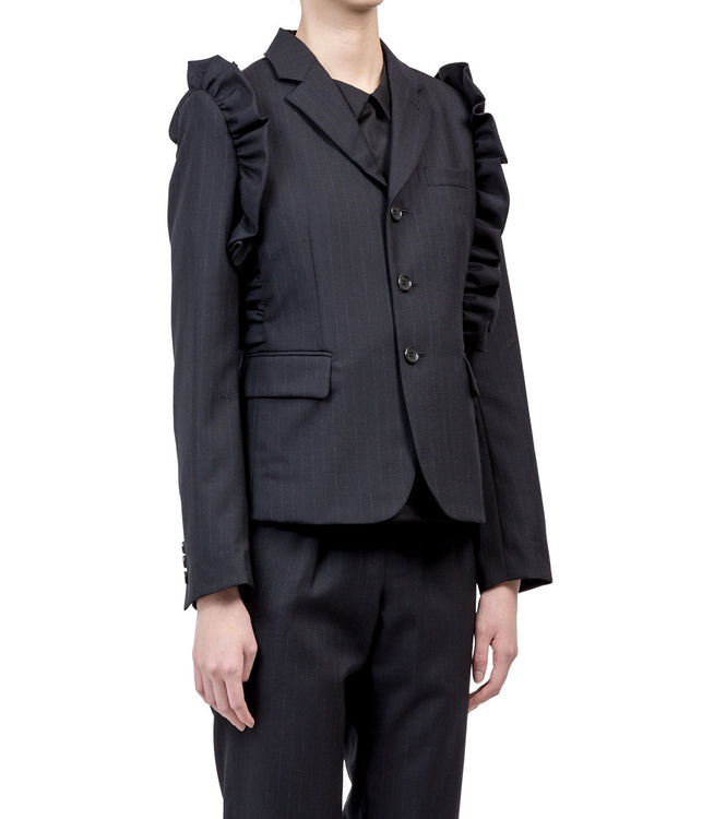 Navy Pinstripe Single Breast Jacket