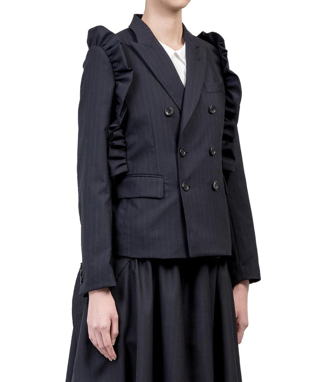 Navy Pinstripe Double Breast Jacket
