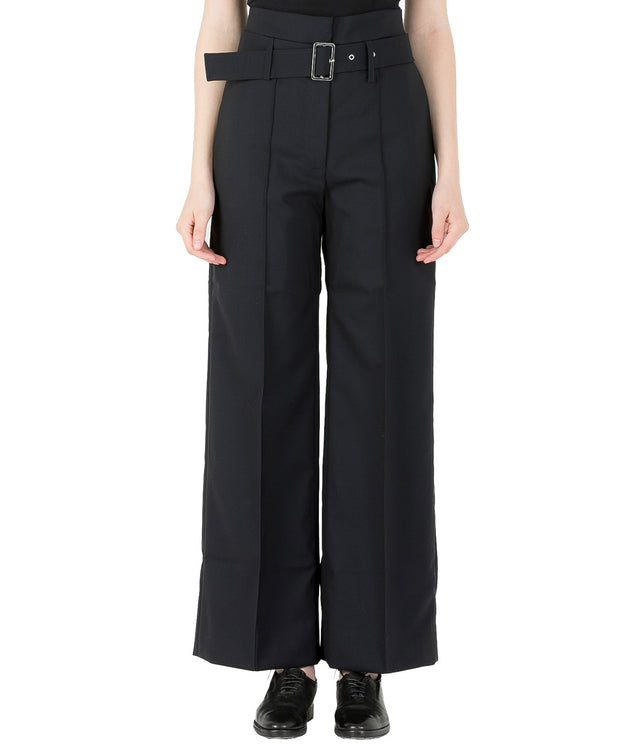 Navy Belted Wool Pants