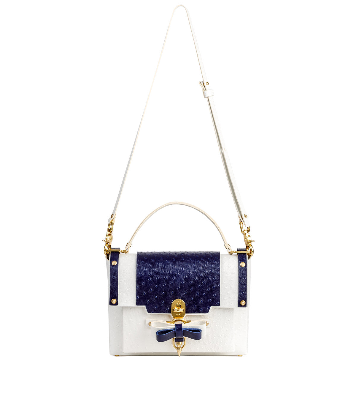 White Ostrich Bow Buckle Bag