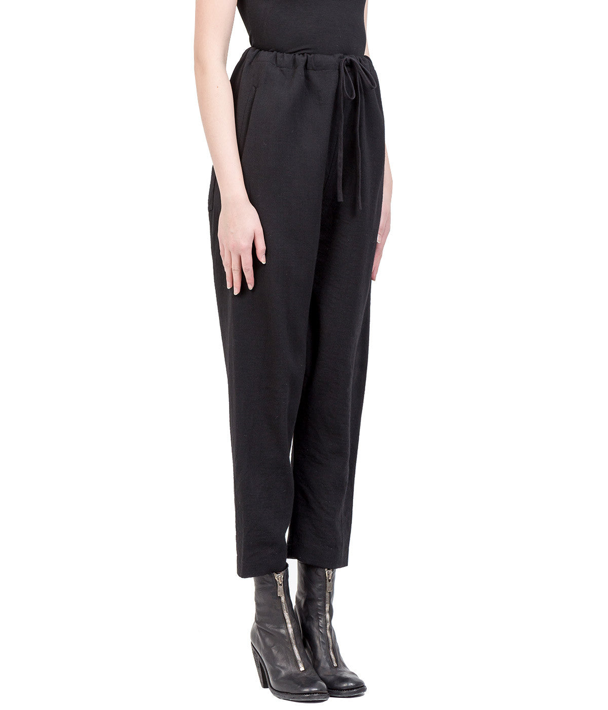 Black Wool Drop Crotch Trousers