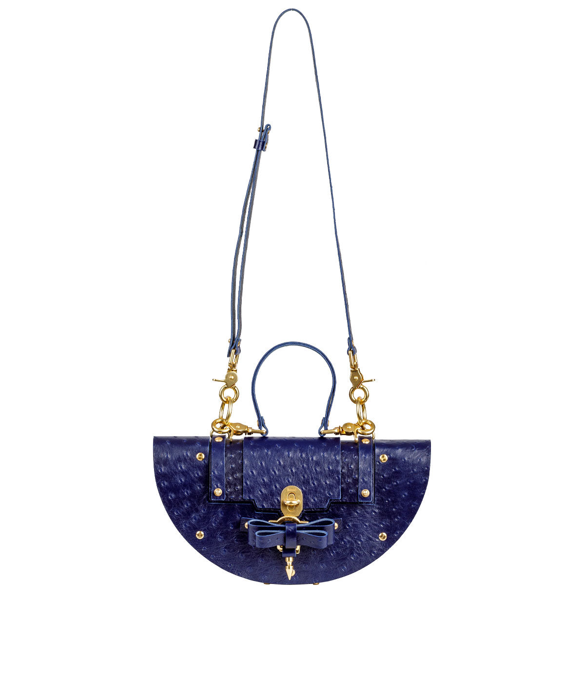 Navy Ostrich Eclipse Bag