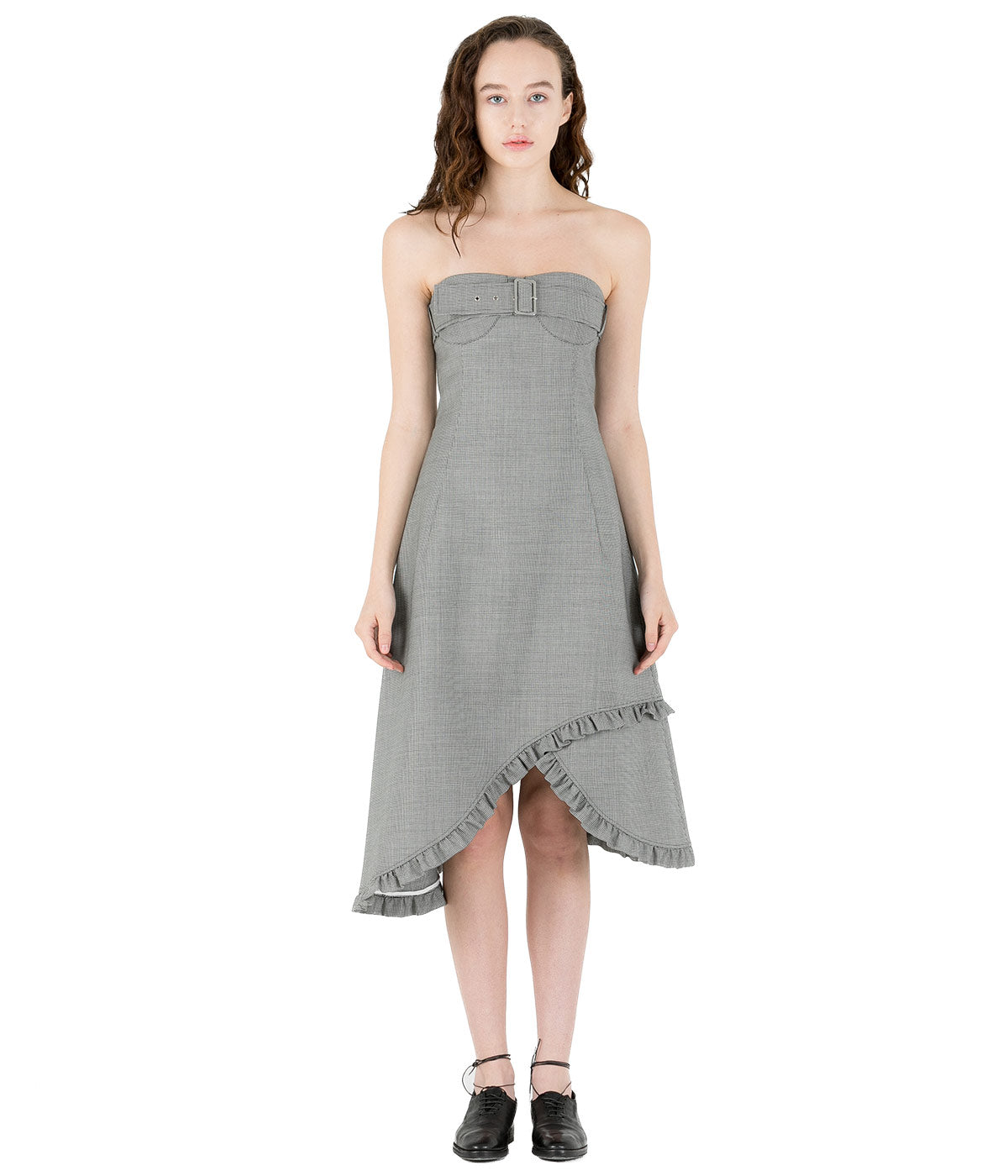 Grey Houndstooth Belt Bust Dress