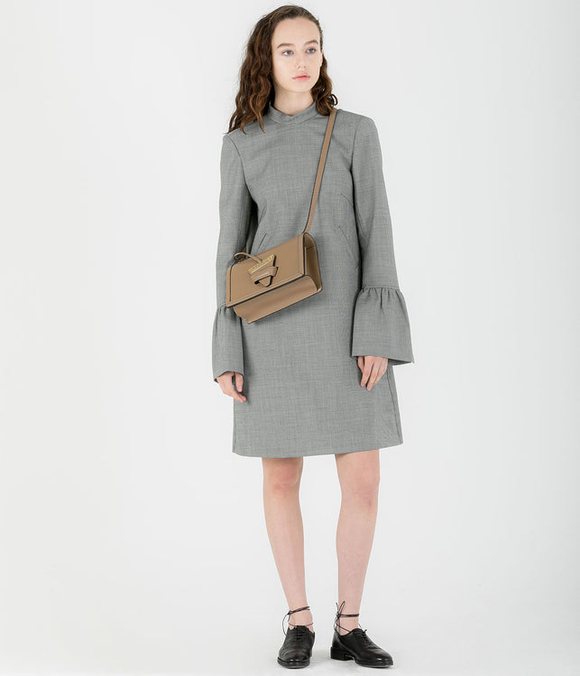 Grey Houndstooth Back Bow Dress