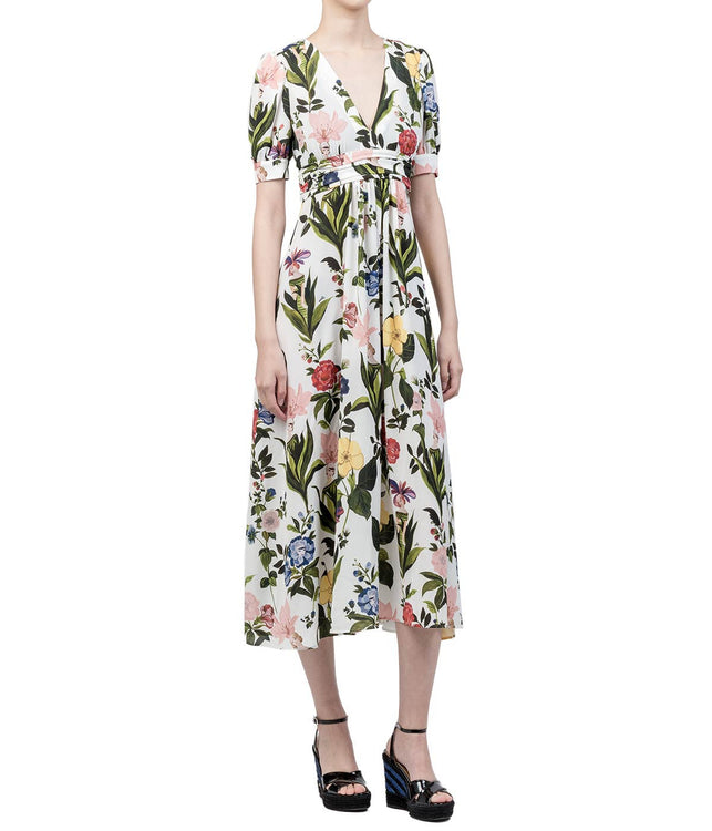 White Floral Empire Dress
