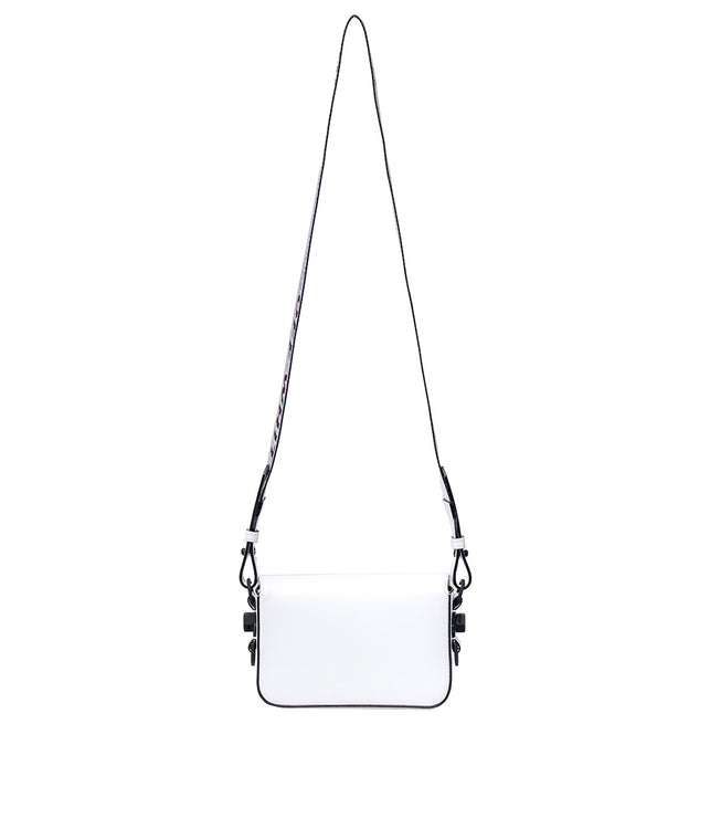 White Diagonal Square Mini Flap Bag