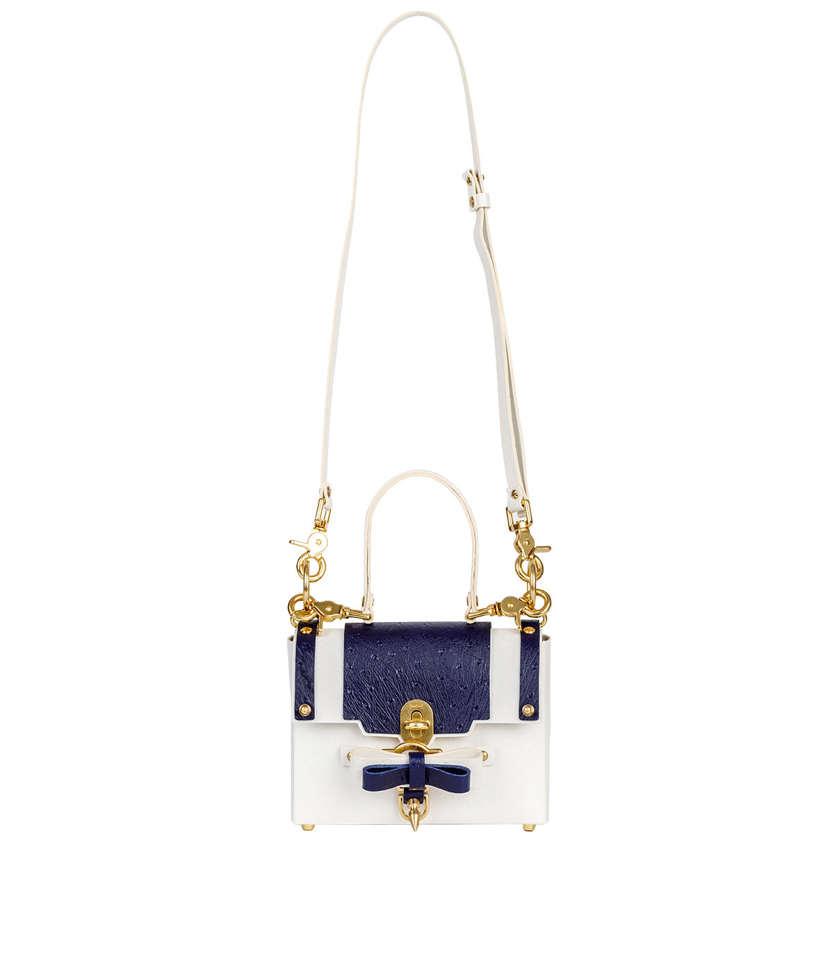 White Small Bow Buckle Bag