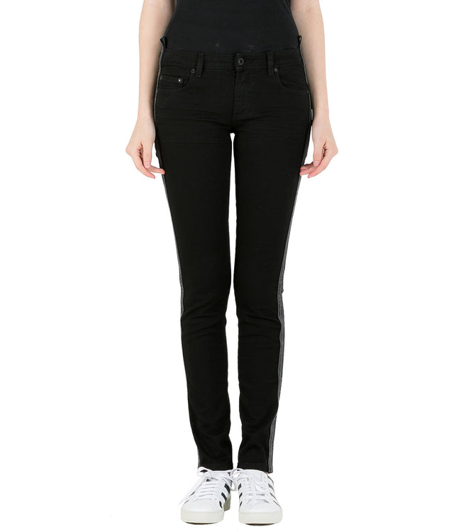 Black Industrial Belt Skinny Denim Jeans