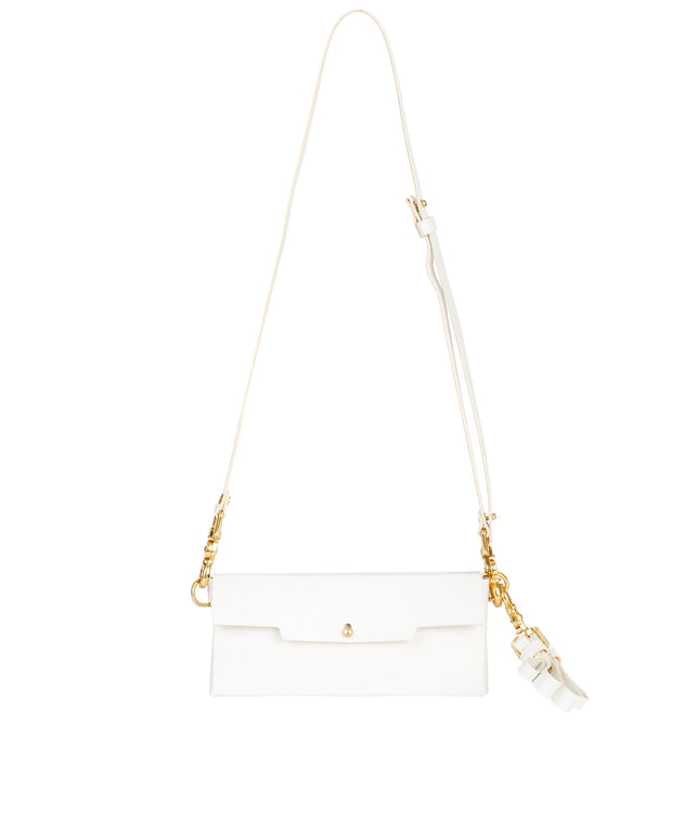 White Ostrich Envelope Bag