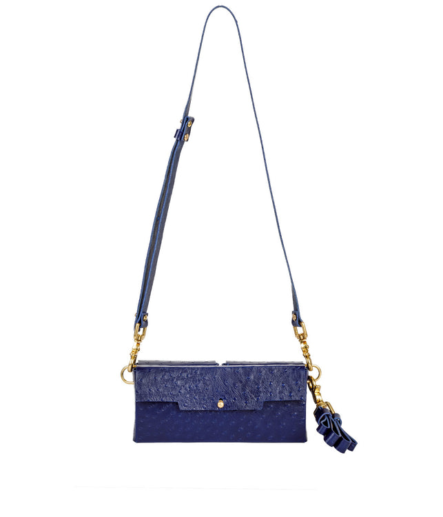 Navy Ostrich Envelope Bag