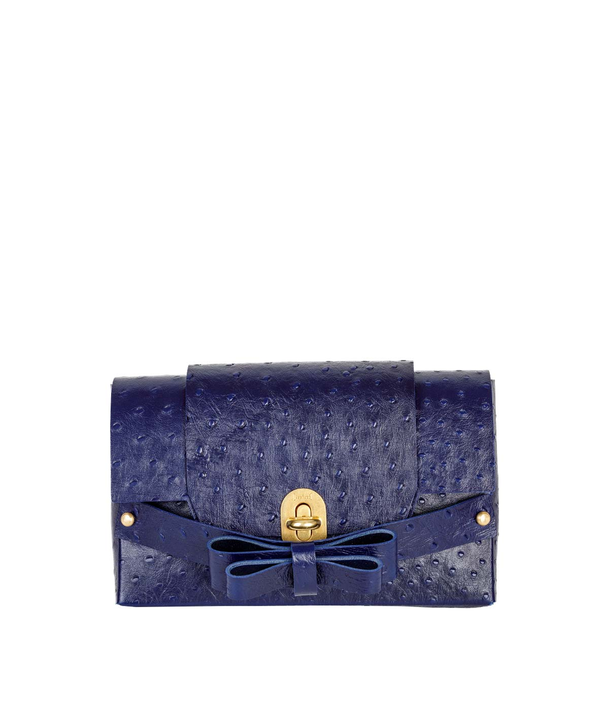 Navy Ostrich Bow Clutch