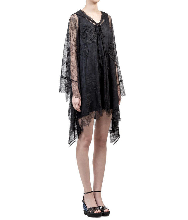 Sheer Black Lace Poncho