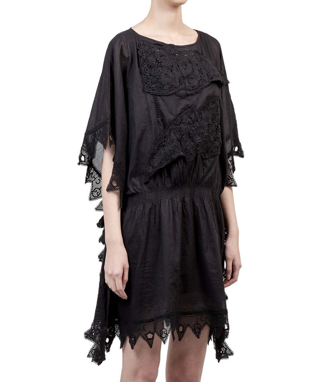 Sheer Black Embroidery Dress