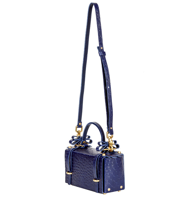 Navy Ostrich Winged Bag