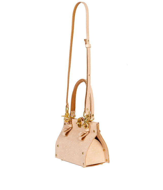 Nude Beige Small Ostrich Doctor's Bag