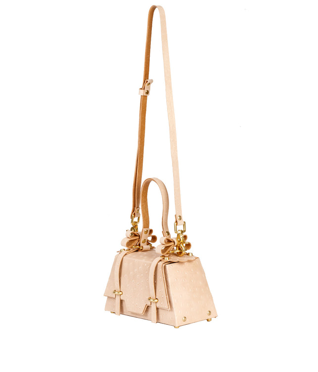 Nude Beige Ostrich Winged Sister Bag