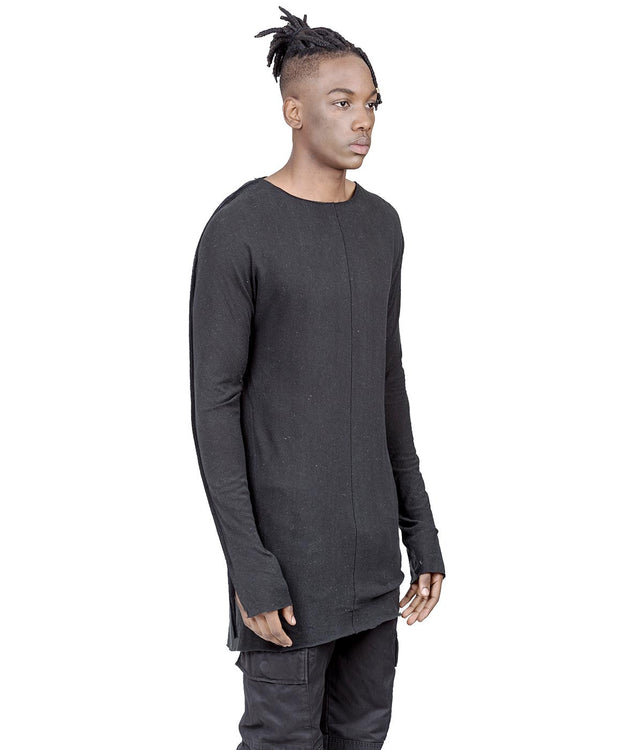 Charcoal Relaxed-Fit Raw Silk T-Shirt