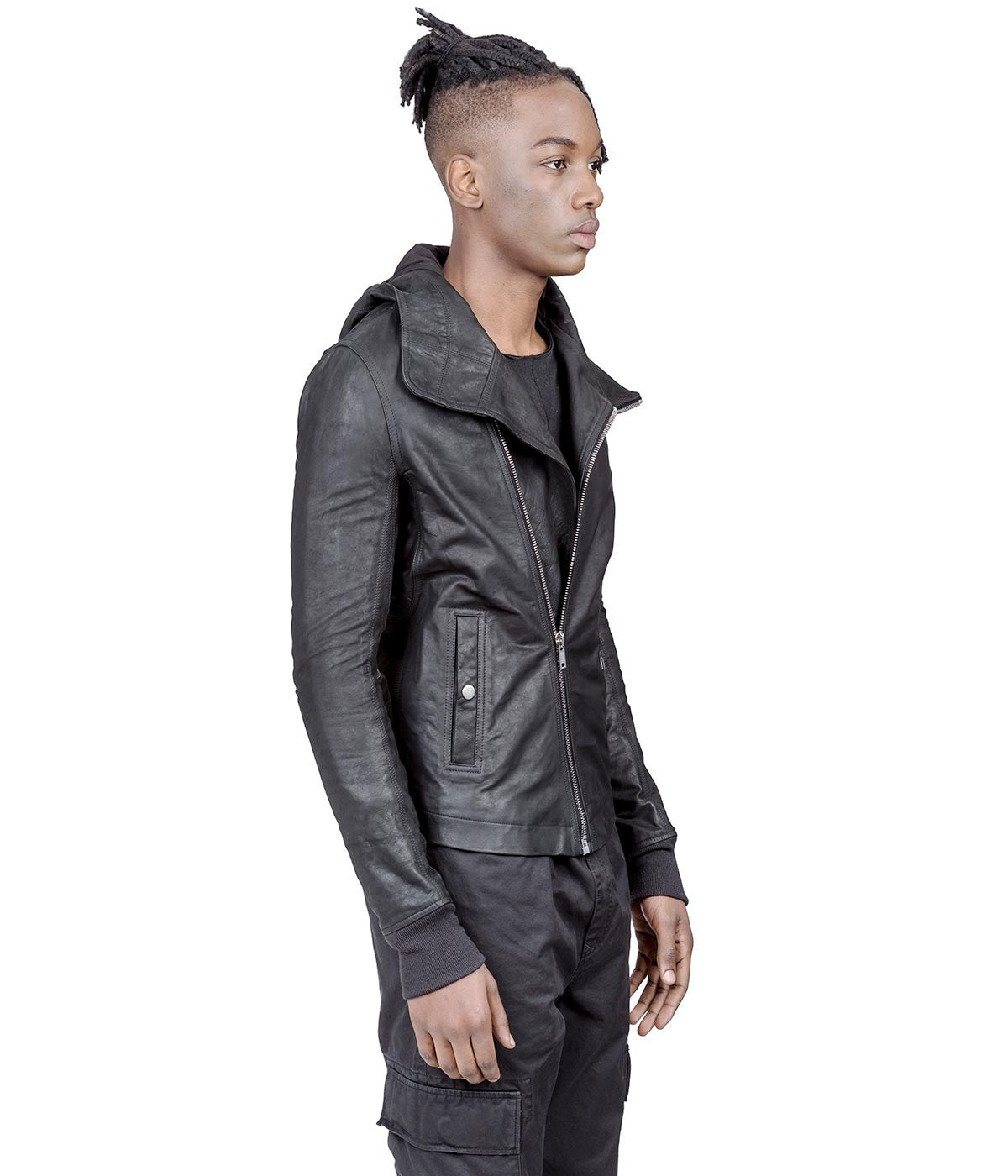 Black Leather Hood Zip Up Jacket