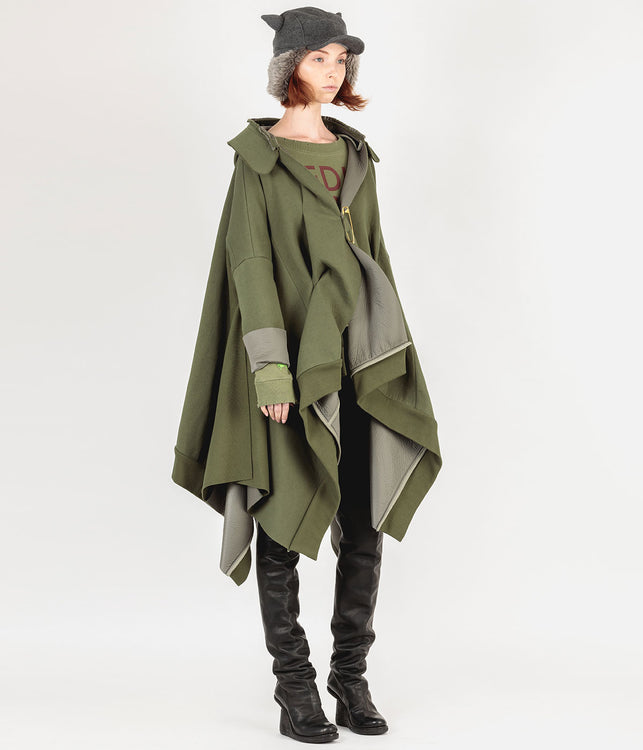 Khaki Green Deconstructed Pullover Jacket