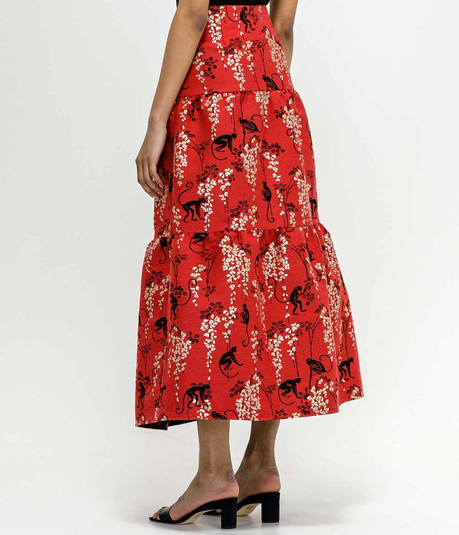 Red Flared Jacquard Skirt