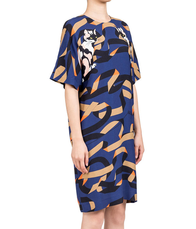 Printed Crepe Dress