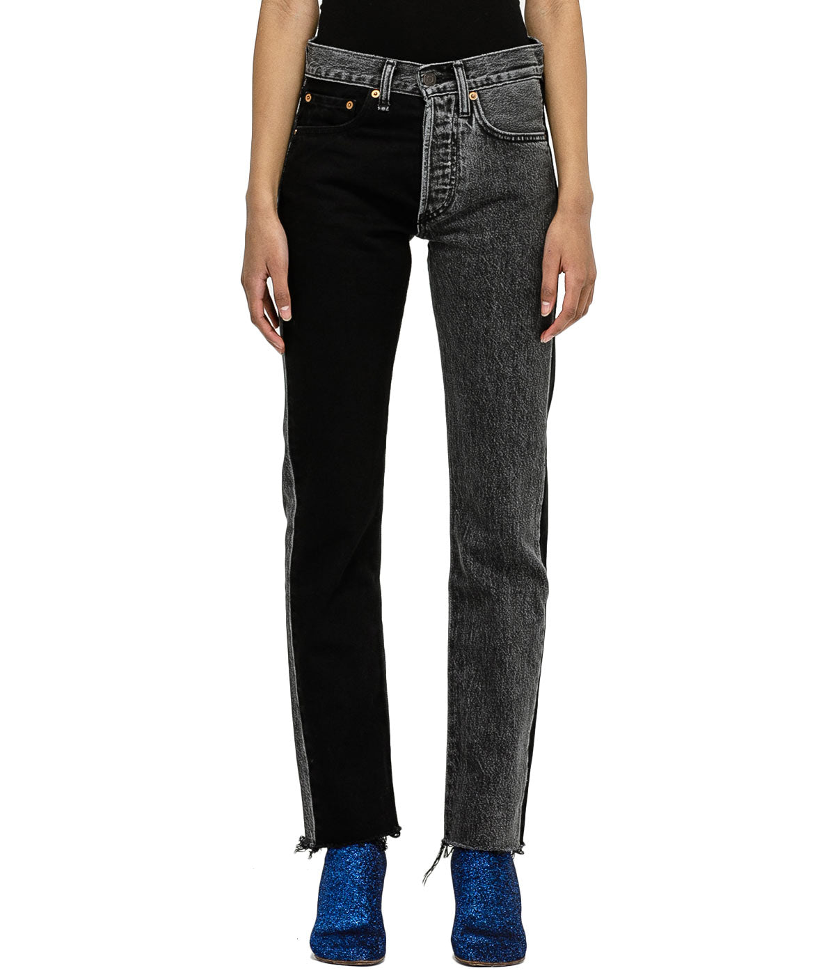 Black Two Colour Denim Jeans