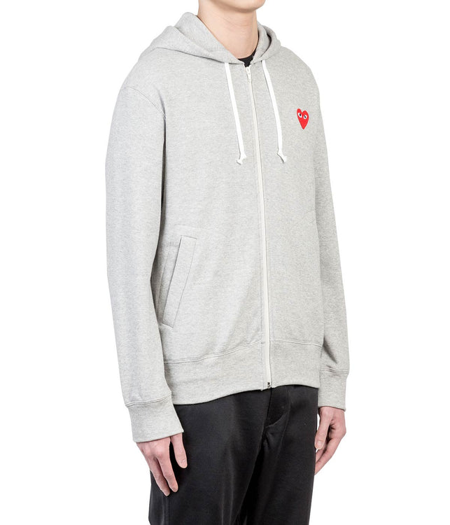 Grey Red Heart Zip-Up Hoodie