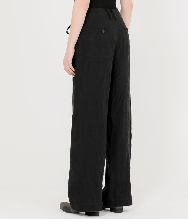 Black Linen Pete Pants