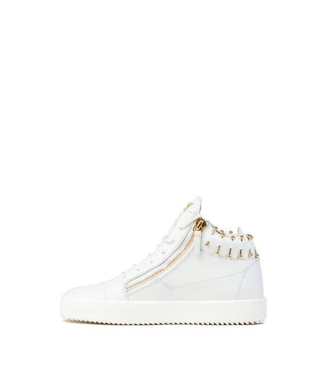 White Barbell Leather Sneakers