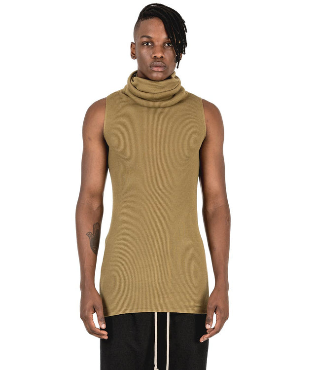 Khaki Green Cowl Neck Tube Top