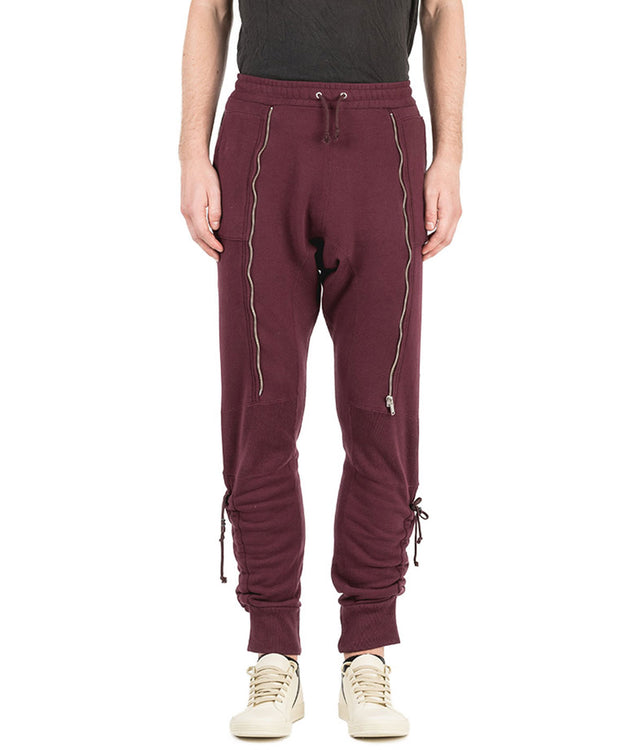 Burgundy Zipped Sweatpants