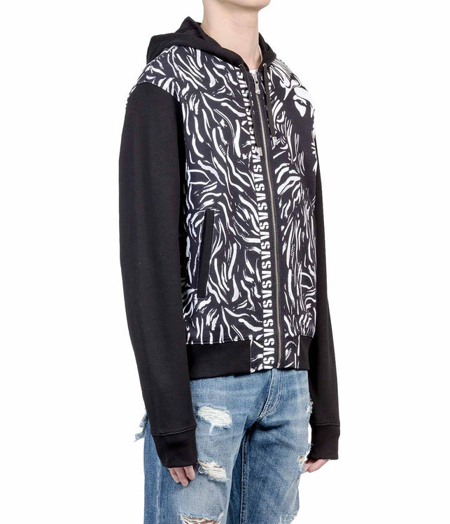 Black Animal Print Zip-Up Hoodie