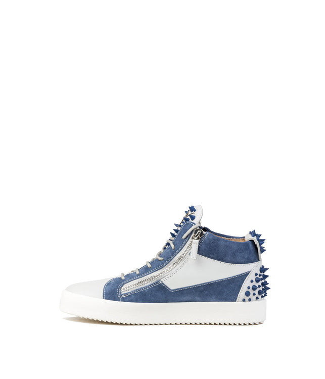 Blue Suede Spiked Sneakers