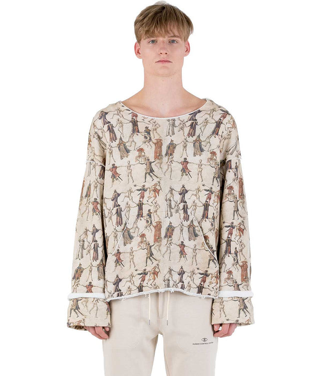 Beige Graphic Sweatshirt