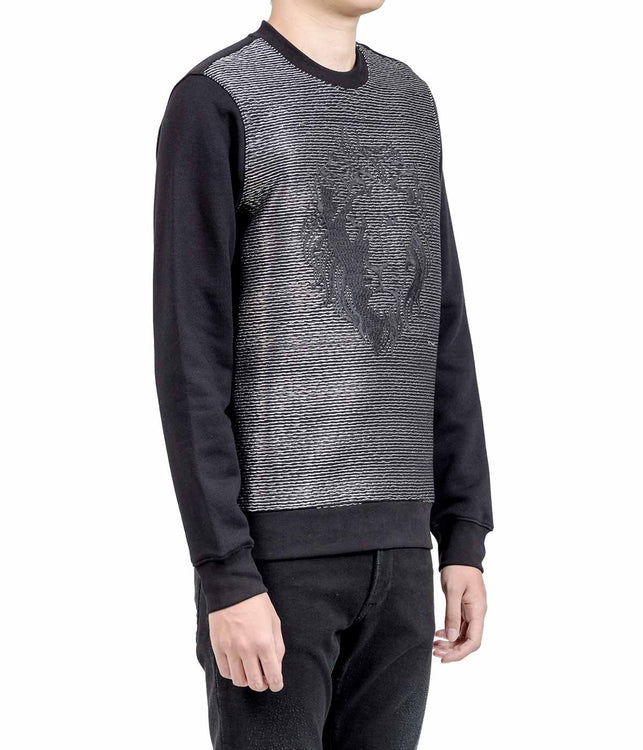 Black Metallic Thread Lion Sweatshirt